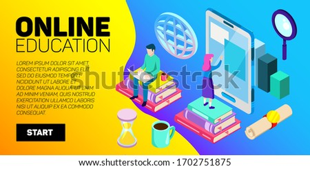 Isometric online education vector banner. E-learning. Imagination ad creativity. #1702751875