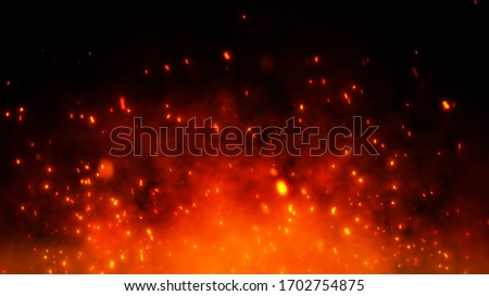 Fire embers particles over black background. Fire sparks background. Abstract dark glitter fire particles lights. #1702754875