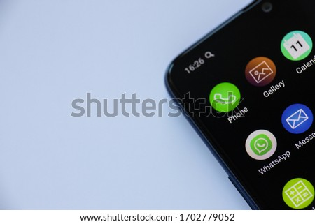 Minsk,Belarus -april 13 2020. View of WhatsApp icon on the smartphone. #1702779052