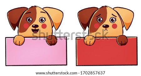 Cute cartoon sad and cheerful dogs or puppies are holding signs. Banner, poster for advertising or announcements on the topic of pets, animals. Element for design, graphics.