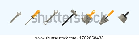 Collection of working tools. Repair and construction tools icon set. Collection of equipment for repair: drill, hammer, screwdriver, saw, file, putty knife, ruler, roller, brush. Vector illustration. #1702858438