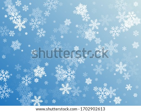 Snow flakes falling macro vector graphics, christmas snowflakes confetti falling scatter banner. Winter snow shapes decor. Windy flakes falling and flying winter seasonal weather vector. #1702902613