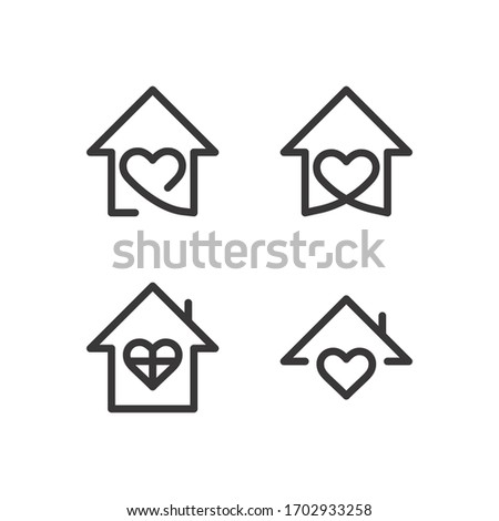 House with heart shape, love home symbol, vector illustration isolated on white background stay home, sticker symbol vector #1702933258