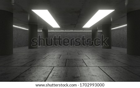3D Rendering - Illustration abstract background, Empty Space White Glow, Elegant Hall Concrete Underground Showroom Garage futuristic Sci-Fi #1702993000