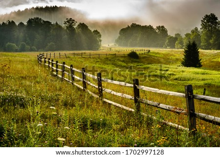 Tea Creek Meadow, rail fence, summer mist along the Highland Scenic Highway, a National Scenic Byway, Pocahontas County, West Virginia, USA Royalty-Free Stock Photo #1702997128