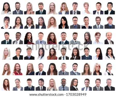 collage of portraits of successful employees isolated on white #1703028949