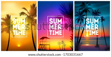 Summer tropical beach backgrounds set N4 with palms, sky sunrise and sunset. Summer placard poster flyer invitation card. Summertime #1703031667