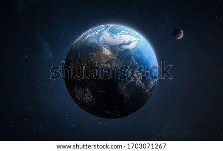 Blue planet Earth and Moon wallpaper. Outer space art. Elements of this image furnished by NASA