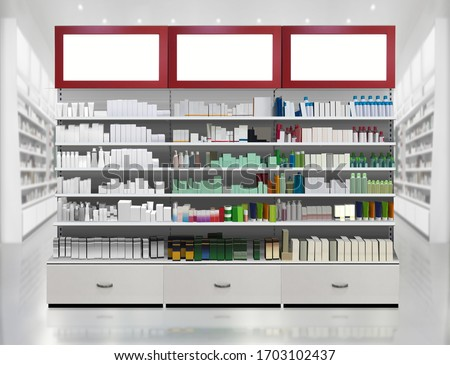 Drugs and pills on shelf. Skincare and Cosmetic products on shelves in pharmacy store interior. 3D rendering illustration Suitable for presenting new products designs, labels among many others