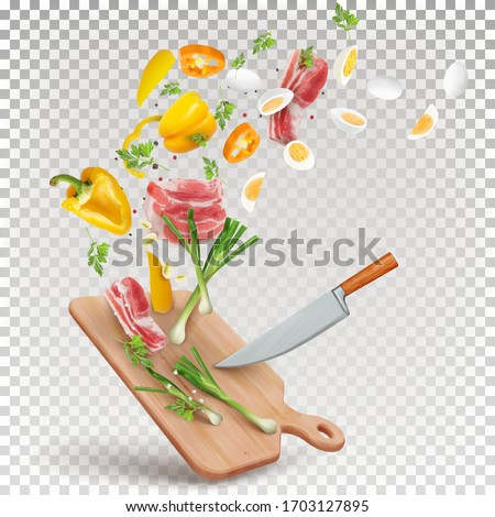 Illustration of a recipe for cooking meat with vegetables. Vector 3d illustration of pork meat, yellow paprika, eggs, green onions, parsley, spices. #1703127895