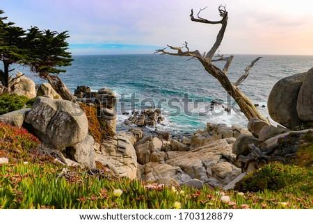 sunset on rocky California coastline