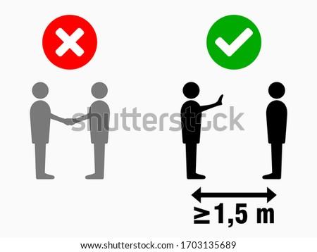 Social Distancing at least 1,5 Meters No Handshake Sign. Vector Image. #1703135689