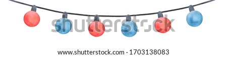 Watercolor illustration of cute multi colored hanging string light with blue and red round bulbs and black wire. Hand painted watercolour sketchy drawing on white, cut out clip art element for design.