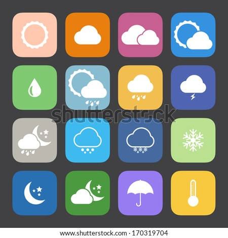 Flat Color style weather icon vector set. #170319704