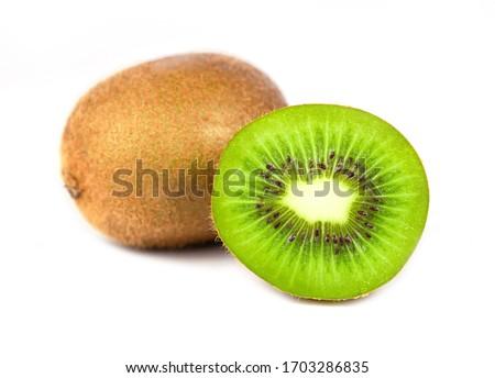 Close up of kiwi fruit and slice kiwi isolated on white background #1703286835