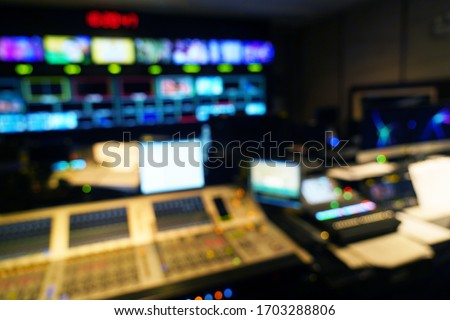 abstract blurred of studio at TV station. Royalty-Free Stock Photo #1703288806