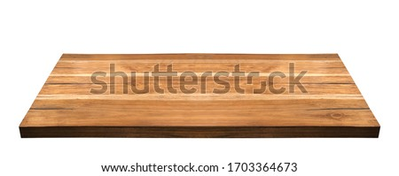 Perspective view of wood or wooden table corner isolated on white background including clipping path  #1703364673