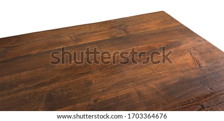 Perspective view of wood or wooden table corner isolated on white background including clipping path  #1703364676