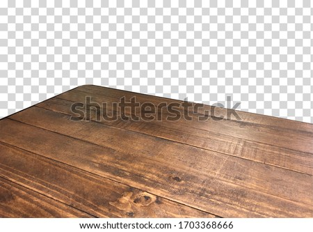 Empty wooden table corner from top or high angle on isolated background including clipping path  Royalty-Free Stock Photo #1703368666