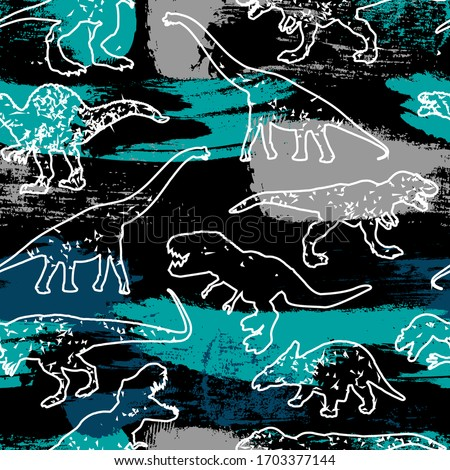 Seamless Dino pattern, print for T-shirts, textiles, wrapping paper, web. Original design with t-rex,dinosaur. grunge design for boys . Royalty-Free Stock Photo #1703377144