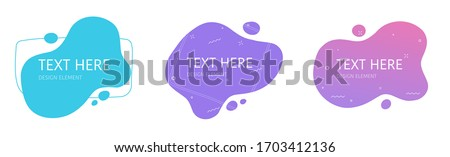 Shapes design element abstract liquid gradient geometric modern splash halftone wavy set for text copy space or fluid graphic curvy colourful vector background, idea of backdrop for flyer or brochure #1703412136