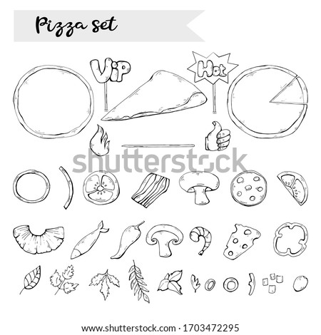 pizza set,collection over white.Pizza ingredient black silhouette,sign,icon,symbol clip art collection isolated.Fast food object clip art in doodle style design.Italian food.For cooking set.