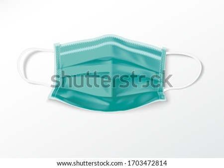 Realistic 3D Protective Medical face mask. Medical masks are used to prevent the spread of infection. Health mask to prevent disease. Vector illustration. #1703472814