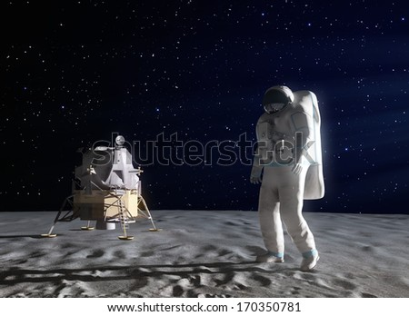 An astronaut on the surface of the Moon #170350781
