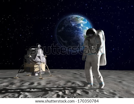 An astronaut on the surface of the Moon #170350784