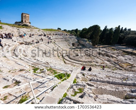 Greek theatre at Archaeological Park of Neapolis, Syracuse, Sicily, Italy Royalty-Free Stock Photo #1703536423