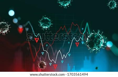 Digital stock market falling graph and blurry coronavirus. Concept of stock market crash due to covid 19 coronavirus pandemic. 3d rendering toned image double exposure #1703561494