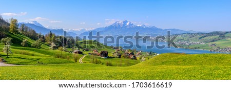 Panoramic view of Lake Lucerne, green alpine meadows blooming in spring time and the Alps mountains range with Mount Pilatus, Switzerland Royalty-Free Stock Photo #1703616619