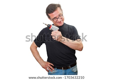 Mature man with repair tools, isolated on a white background #1703632210