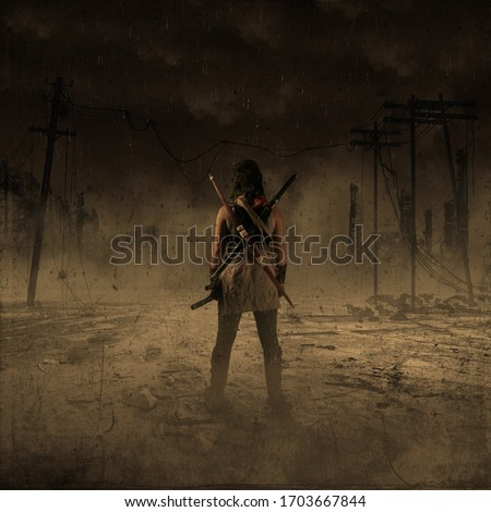 woman destruction in the world. , post Apocalypse and biohazard  Royalty-Free Stock Photo #1703667844