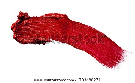 Glossy red lipstick stain swatch isolated on white background #1703688271