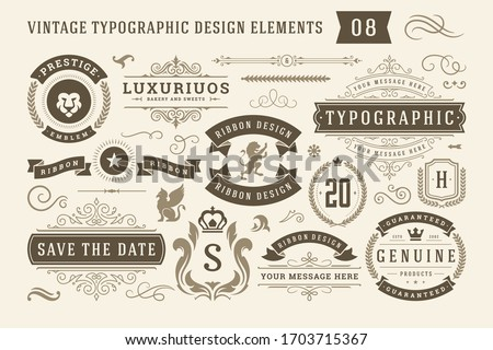 Vintage typographic design elements set vector illustration. Labels and badges, retro ribbons, luxury ornate logo symbols, calligraphic swirls, flourishes ornament vignettes and other. Royalty-Free Stock Photo #1703715367