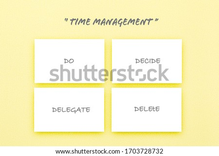 Four white boxes on pastel yellow texture paper, Time managent concept, The Eisehhover Matrix,  Infographic design template.