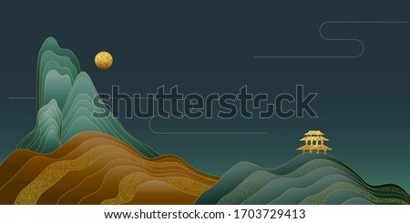 Vector illustration of beautiful landscape background with a night, yellow hills, black sky, golden pavilion. Royalty-Free Stock Photo #1703729413
