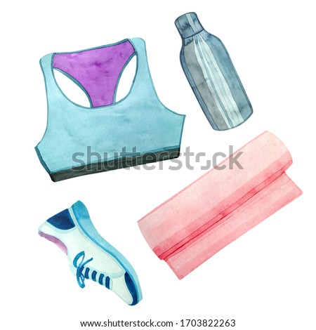 Watercolor clip-art with sports elements. A blue sports topic, a yoga mat, a metal bottle of water and blue crochets. All you need for comfortable home workouts.