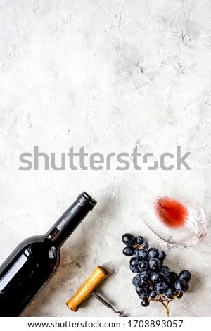 Wine set on white background top view mock up