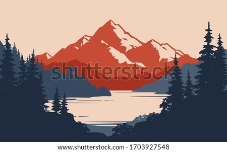 Vintage mountain landscape and small house on the lake or river coast - vector illustration. Peak of rock landscape with mountain lake, small hut, pine forest. Wild tourism or camping  banner design #1703927548