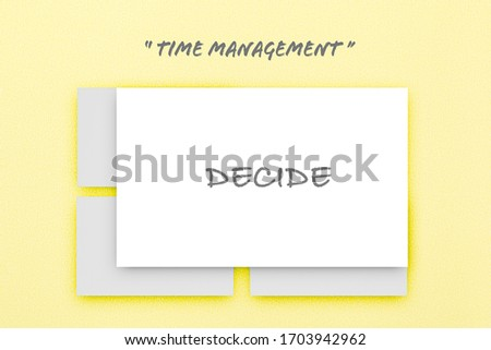 Four white boxes on pastel yellow texture paper, Time managent concept, The Eisehhover Matrix,  Infographic design template. .