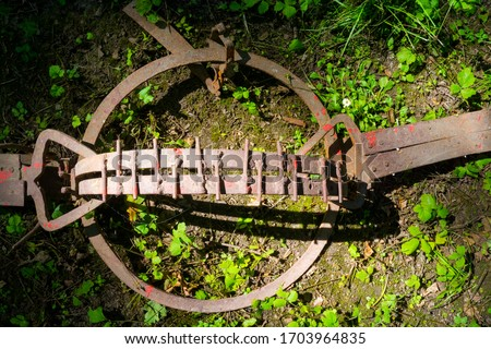 Rusty bear trap is activated in the forest Royalty-Free Stock Photo #1703964835
