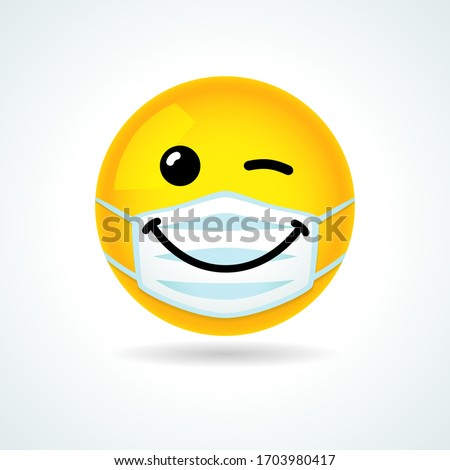Emoji smile face with guard mouth mask. Yellow winking emoticon wearing a white surgical mask. Vector wink icon Royalty-Free Stock Photo #1703980417