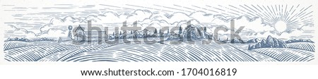 Rural landscape panoramic format with a farm. Hand drawn Illustration in engraving style. #1704016819
