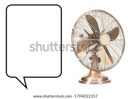Desk Fan Isolated on White. Copper Retro Ventilator. Vintage Electric Fan. Pedestal Cooling Fans. Domestic Electric Small Appliances. Side and Front View of Cooper Metal Table Fan with 4 Metal Blades #1704022357