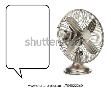 Desk Fan Isolated on White. Copper Retro Ventilator. Vintage Electric Fan. Cooper Metal Table Fan with 4 Metal Blades. Domestic Electric Small Appliances. Side and Front View of Pedestal Cooling Fans #1704022360