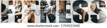 Collage of a group of fit people doing pushups, lifting weights and relaxing together in a gym with an overlay of the word fitness