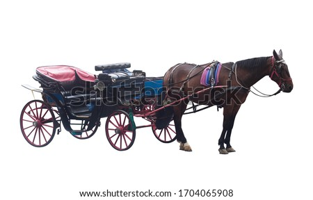 old vintage empty horse carriage couch isolated on white background Royalty-Free Stock Photo #1704065908