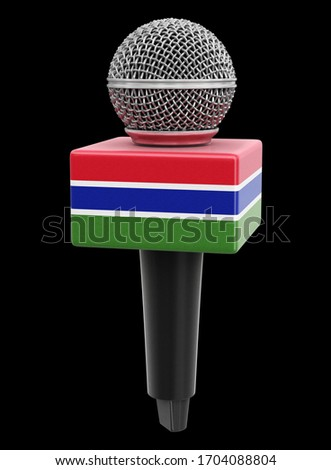 3d illustration. Microphone and Gambia flag. Image with clipping path